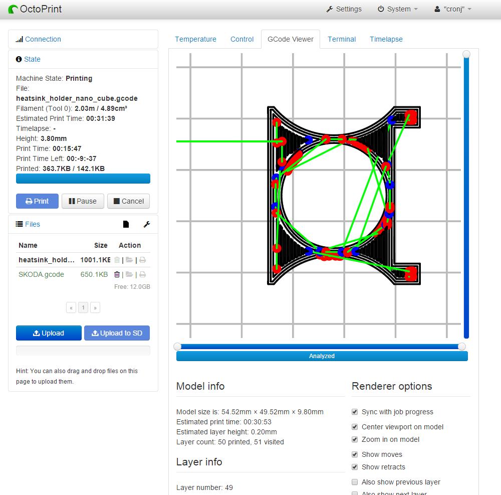Screenshot of Octoprint during a print